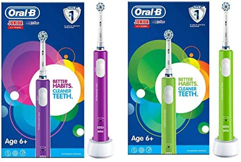 Oral-B Kids Junior Smart Electric Rechargeable Toothbrush, 1 Bluetooth Enabled Handle, Smart Timer, Pressure Sensor, 1 Brush Head, for Children 6+ Years, UK 2 Pin Plug, Stocking Filler for Kids