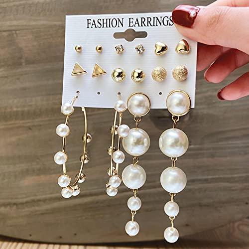 FEARRIN Pendientes para Mujer, Conjunto de Pendientes de aro de Oro, Pendientes de aro de Perlas para Mujer, Pendientes de círculo de Metal de Gran tamaño, joyería Femenina 51234