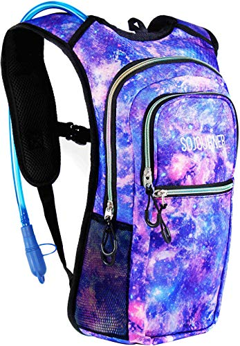 Sojourner Rave Hydration Pack Backpack  2L Water Bladder Included for Festivals Raves Hiking Biking Climbing Running and More Multiple Styles Galaxy