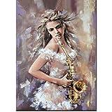Diamante Pintura Cuadrado Completo/Taladro Redondo Mujer Jugar Saxofón Foto Bordado Personalizado Mosaico Piedras Strass Instrumento Musical Decoración,70x95cm