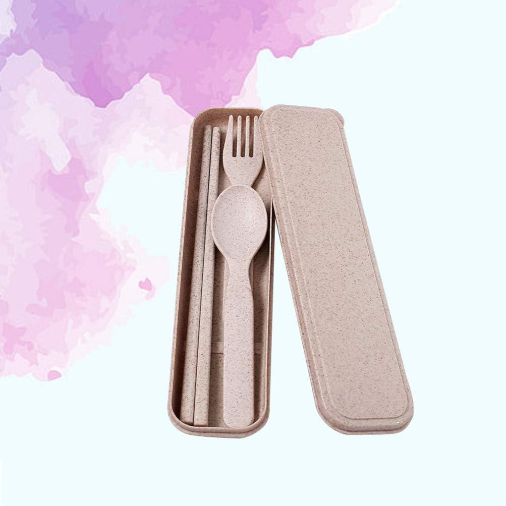 UPKOCH Set di posate per bacchette per forchetta cucchiaio in paglia di grano leggero 3 pezzi per stoviglie da viaggio per bambini per studenti