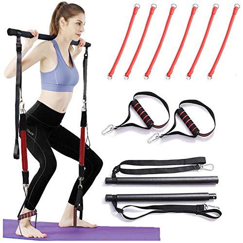 GHH Bâton de Pilates de Mise à Niveau Portable Système de Base Entraîneur de résistance de Gym à Domicile Bande de résistance Multifonction Entraînement corporel Total, Yoga, Fitness,2