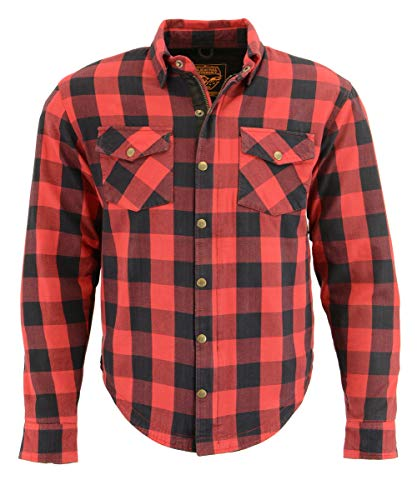 Milwaukee Performance MPM1631 Men's Armored Checkered Flannel Biker Shirt with Aramid by DuPont Fibers - X-Large