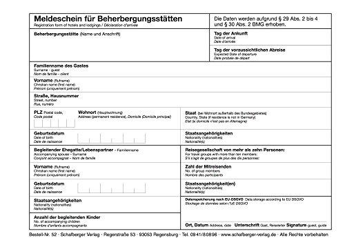 Meldeschein für Beherbergungsstätten DIN A5 alle Bundesländer - Hinweis auf EU-DSGVO - neu nach Bundesmeldegesetz - dreisprachig - Block a 100 Blatt