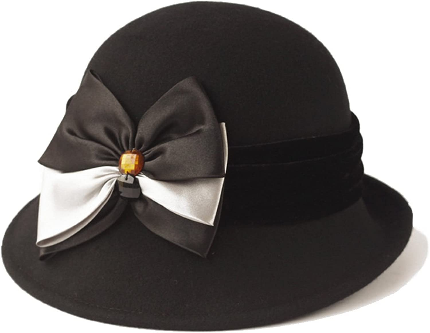 Vintage Womens 100% Wool Felt Hat with Bow 3 color