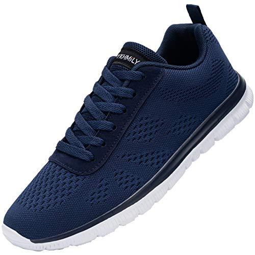 DYKHMILY Zapatillas de Seguridad Hombre Ligeras Transpirable Zapatos de Seguridad Trabajo Punta de Acero Calzado de Seguridad Deportivo (Azul Blanco,40 EU)