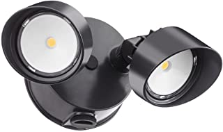 Lithonia Lighting OLF 2RH 40K 120 PE BZ M4 Contractor Select Twin Head Outdoor Integrated LED Dusk to Dawn Security Flood Light Round 4000K Black Bronze