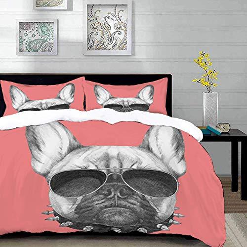 ropa de cama - Juego de funda nórdica, Bulldog, Retrato de perro estilo dibujado a mano con collar y gafas de sol sobre fondo rosa, Gris negro y, Juego de funda nórdica de microfibra con 2 Funda de al