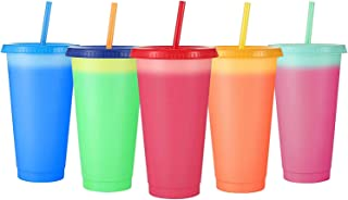 24 oz Color Changing Reusable Cup,Sursip 5 Pack With Lid/Straws, Summer Coffee Tumblers Party Cup for Adults