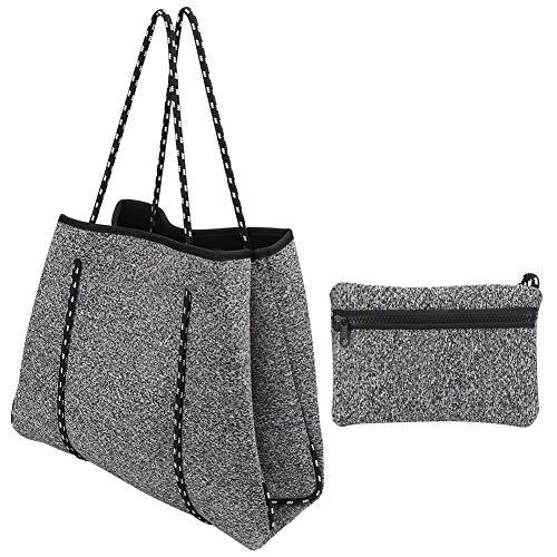 Nannday 【𝐎𝐬𝐭𝐞𝐫𝐟ö𝐫𝐝𝐞𝐫𝐮𝐧𝐠𝐬𝐦𝐨𝐧𝐚𝐭】 Strandtasche Wasserfeste Einkaufstasche, Neopren-Strandtasche, l ssige Mami-Handschlaufe zum Joggen im Freien(Grey)