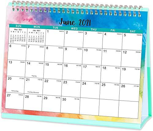Calendrier de bureau 2021, calendrier 2021, affichage mensuel, allant de janvier 2021 à décembre 2021, pages mémos, 25,4 x 21 cm