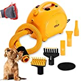 Free Paws Negative Ions Dog Dryer 4.0 HP 2 Speed Adjustable Heat Temperature Pet Dog Grooming Hair Dryer Blower Professional with 5 Different Nozzles and a Shower Massage Glove