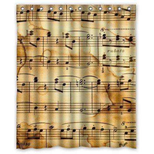 ZHANZZK Vintage Music Notes Bathroom Waterproof Shower Curtain 60x72 Inches