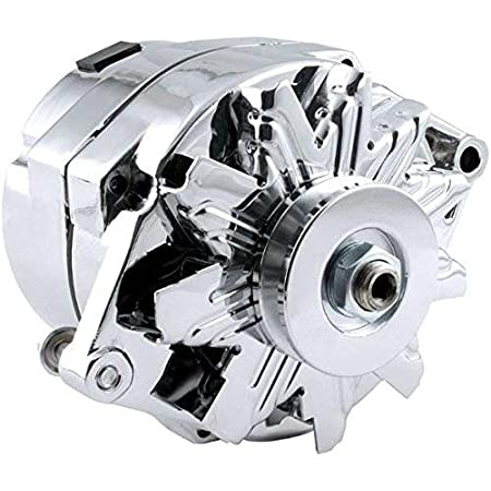 New High Output 100 AMP Alternator Chrome 1 or 3 Wire, Self Exciting Replacement For GM Chevy 10 SI 10SI DELCO BBC SBC 1965-1986 1100125