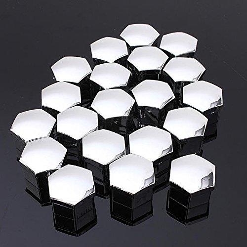 WZhen Conjunto De 20 Piezas 17Mm Coche Plástico Tapas Pernos Cubre Tuercas Rueda De Aleación - Negro