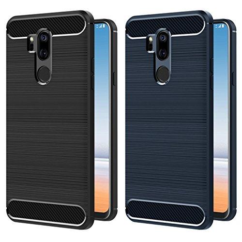 ivoler [2 Unidades] Funda para LG G7 ThinQ, Diseño de Fibra de Carbon Ultra Fina TPU Silicona Carcasa Fundas Protectora con Shock- Absorción (Negro+Azul)