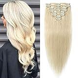 TESS Echthaar Extensions Clip in Weißblond #60 Remy Haar Extensions guenstig Haarverlängerung 18 Clips 8 Tressen Lang Glatt, 14'(35cm)-60g