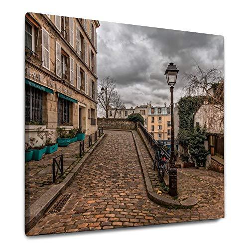 ART VVIES 24x24 Zoll Holz gerahmte Wand Bild Paris Montmartre Pfad Pflaster Altstadt Straße für Hauptdekorationen Stil Leinwand mit Haken Kunst Malerei