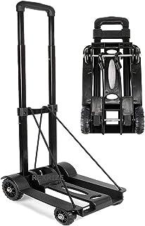 【Amazon限定ブランド】REXRIZE キャリーカート ハンドキャリー 折りたたみ式 軽量 コンパクト 持ち運びやすい 3段階ハンドル高調節 ゴムバンド付き カーボン調 ブラック