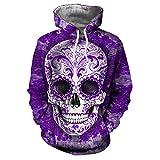 LaiYuTing Unisex Hoodies HD Skull Print 3D Print Pullover Leichte Sweatshirts mit