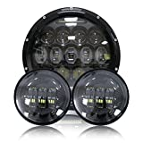 Esyauto rotondo faro 7 pollici a LED 75W proiettore abbagliante/anabbagliante con DRL bianco e fendinebbia 4,5 pollici a LED per Harley Davidson
