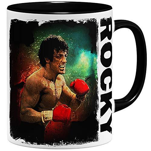 OM3 - Taza Rocky Balboa Boxing 70s 80s Kult   Taza de cerámica   325 ml   Impresión en ambos lados   Negro