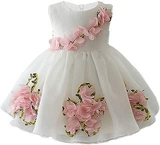 CAIYCAI 2019 Cute Baby Girl Dresses for Wedding Party 0-5 Years Kids Girls Birthday Dress 3D Flower Princess Prom Dress