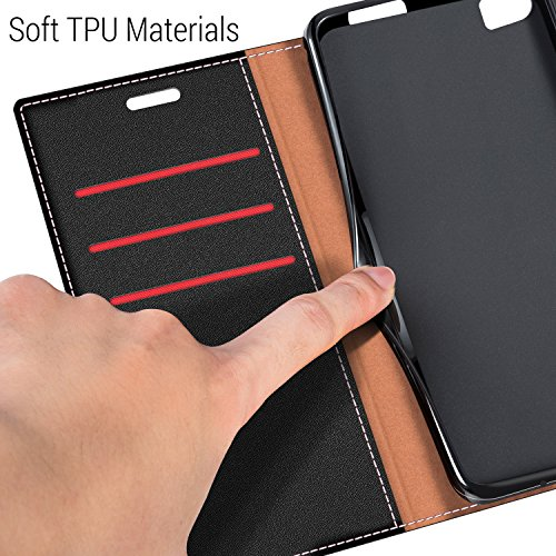 COODIO Handyhülle für Huawei P8 Max Handy Hülle, P8 Max Hülle Leder Handytasche für Huawei P8 Max Klapphülle Tasche, Schwarz/Rot - 4