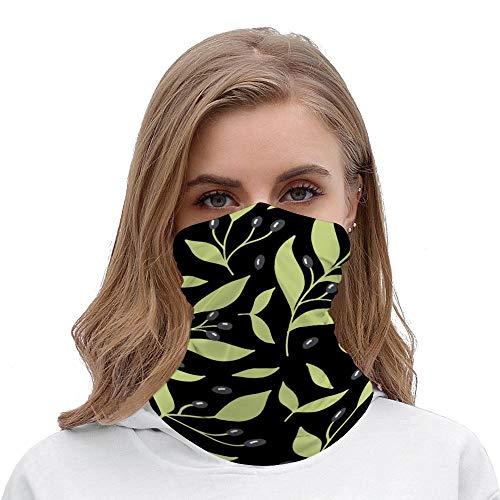 Pretty Green Black Botanical Leaf Unisex Multifunctional Bandana Neck Gaiter Tube Headwear headkerchief, Motorcycle Face Mask Bandana Headband for Women Men Face Scarf