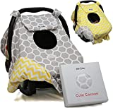 Sho Cute - [Reversible] Carseat Canopy   All Season Baby Car Seat Cover Boy or Girl   100% Cotton   Unisex Grey Honeycomb & Yellow Chevron   Universal Fit   Baby Gift