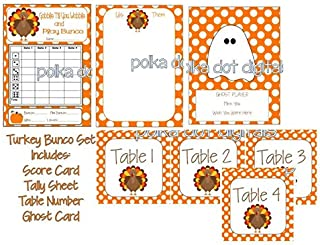 Buy 2 Get 1 Free TURKEY Gobble Bunco Score Card Set Sheet Matching Table Numbers Tally Sheet Printable Digtal File Download