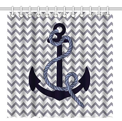 JOOCAR Design Duschvorhang, marineblauer Anker, grauer Chevron-Hintergr&, wasserdichter Stoff, Badezimmer-Dekor-Set mit Haken