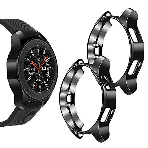 Goton Compatible Samsung Galaxy Watch 46mm Case 2018 ( for SM-R805 and SM-R800 and Gear S3 Frontier SM-R760 ) , (2 Packs) Soft TPU Smart Shockproof Case Cover Bumper Protector (Black and Black, 46mm)
