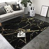 KasaBlaro Black Gold Marble Print Area Rug Carpet Contemporary Rugs Living Room Dining Area Rugs Room Rugs Office Rugs Modern Rug 80' X 58'