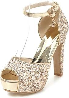 4a23478f Coolulu Mujer Glitter Sandalias Tacón Alto con Plataforma Zapatos con  Lentejuelas Correa Tobillo con Hebilla Peep