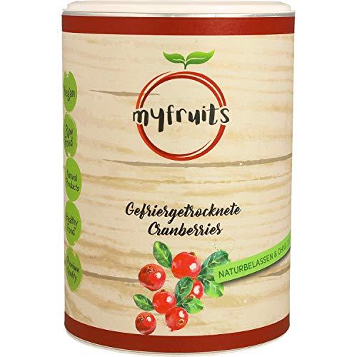 myfruits® Cranberries - gefriergetrocknet - ohne Zusätze, zu 100% aus Cranberries, Zutat für Müsli oder Porridge (50g)