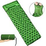 Ryaco Isomatte Aufblasbare Luftmatte Ultraleicht Kleines Packmaß Camping Matratze mit Kopfkissen &...