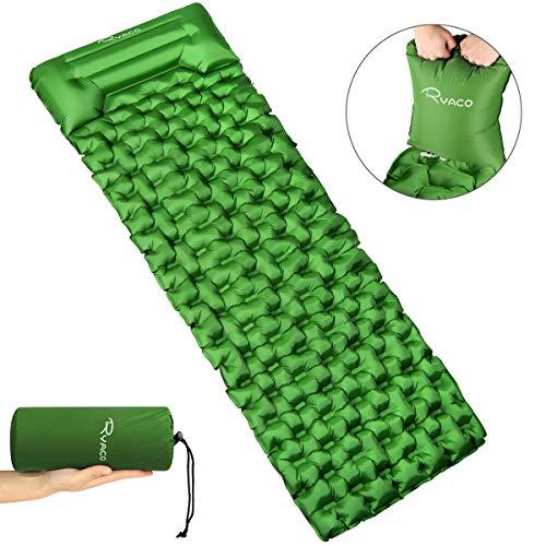 Ryaco Isomatte Aufblasbare Luftmatte Ultraleicht Kleines Packmaß Camping Matratze mit Kopfkissen & Airbag, Schlafmatte Luftbett für Outdoor, Reise, Strand, wandern, Trekking und Backpacking