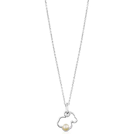 Collar TOUS Silueta de plata de primera ley con perla. Motivos: 1,6 cm y 0,4 cm. Largo: 40-45 cm.