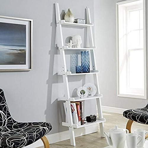 Home Source White Ladder Shelving Unit 5 Tier Display Stand - Bookcase Shelf Wall Rack Storage