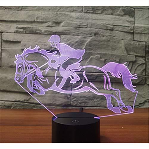 Jinete Acrílico 7 colores Lámpara de escritorio Lámpara 3D Regalo de novedad Luz de noche LED Luz de halcón milenario