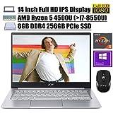 "2020 Newest Acer Swift 3 14 Laptop 14"" Full HD IPS Display AMD Hexa-Core Ryzen 5 4500U (Beats i7-8550U) 8GB DDR4 256GB PCIe SSD Backlit Fingerprint WiFi HDMI Win 10 Pro + iCarp Wireless Mouse"