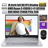 2020 Newest Acer Swift 3 14 Laptop 14' Full HD IPS Display AMD Hexa-Core Ryzen 5 4500U (Beats i7-8550U) 8GB DDR4 256GB PCIe SSD Backlit Fingerprint WiFi HDMI Win 10 + iCarp Wireless Mouse