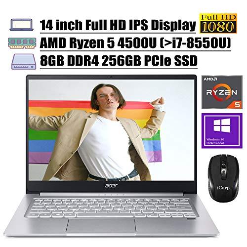 2020 Newest Acer Swift 3 14 Laptop 14' Full HD IPS Display AMD Hexa-Core Ryzen 5 4500U (Beats i7-8550U) 8GB DDR4 256GB PCIe SSD Backlit Fingerprint WiFi HDMI Win 10 Pro + iCarp Wireless Mouse
