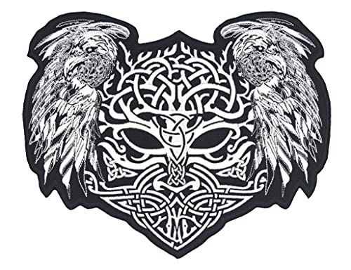 Norse Viking Yggdrasil The Tree of Life with Ravens Celtic Style Large Embroidered Back Patch for Motorcycle Jacket & Biker Vest