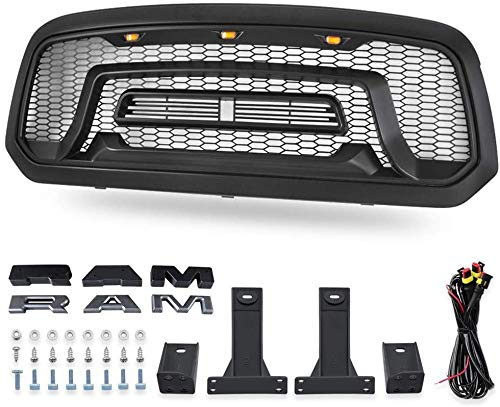 HYNB ABS Mesh Grille Rebel Style Front Grill Hood LED Fit voor Dodge Ram 1500 2013-2018
