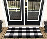 Levinis Buffalo Check Rug - Cotton Washable Porch Rugs Door Mat Hand-Woven Checkered Plaid Rug for Doorway/Kitchen/Bathroom/Entry Way/Laundry Room/Bedroom 2' x 3', Black and White