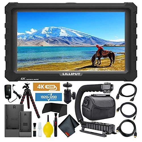 Lilliput A7S Full HD 7 Inch IPS Video Camera External Field Monitor with 4K Support (Black Case) Essentials Bundle with Stabilizing Handle + Tripod + HDMI Cables + Carrying Case + Cleaning Kit
