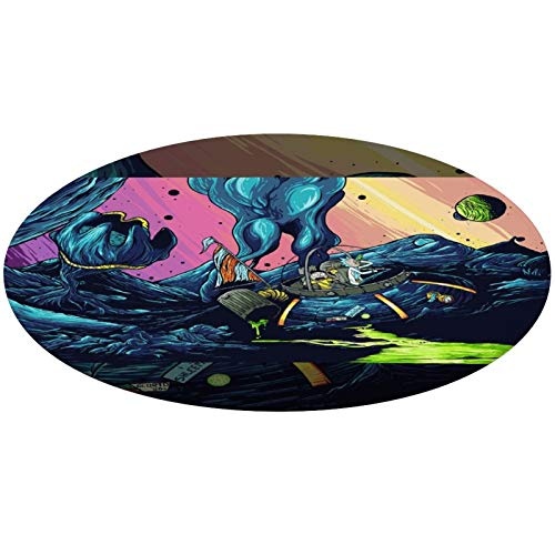 Trippy Morty and Rick Cartoon Art Round Area Rug for Bedroom, Living Room, Home, Office/Memory Foam Floor Pad Rugs Entrance Rug, Anti-Slip Quick Dry Standing Mat (24' Diameter)