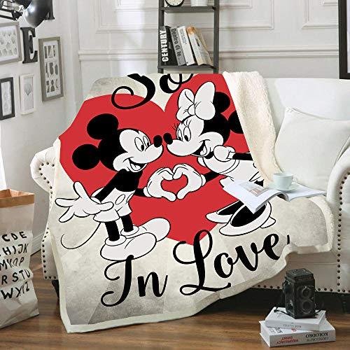 SSLLC Disney Mickey und Minnie Mouse Tagesdecke aus weichem Fleece, 3D-Digitaldruck, für Erwachsene und Kinder, für Sofa, Bett, Sofa Wohnzimmer (A08,150 x 200 cm)